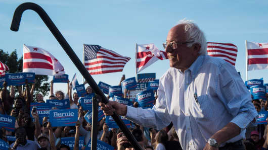 Democratic presidential candidate Sen. Bernie Sanders, I-Vt., walks out to speak at a rally in Washington, DC on Thursday June 09, 2016.