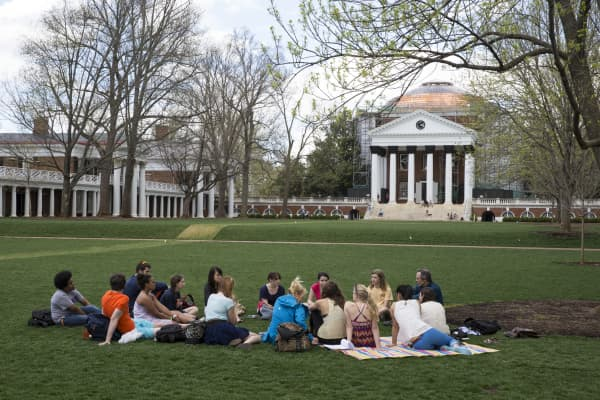 University of Virginia lawn on campus