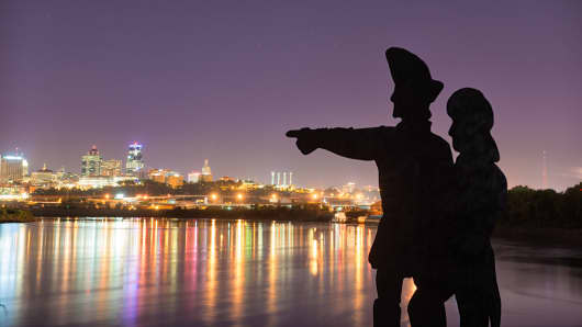 The Lewis and Clark statue at Kaw Point, where the Kansas and Missouri rivers merge.