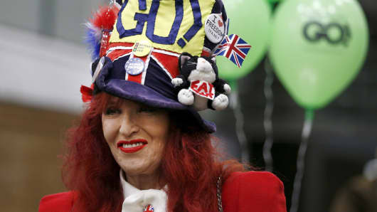 A supporter of Britain leaving the EU, attends an event in London, Feb. 19, 2016.