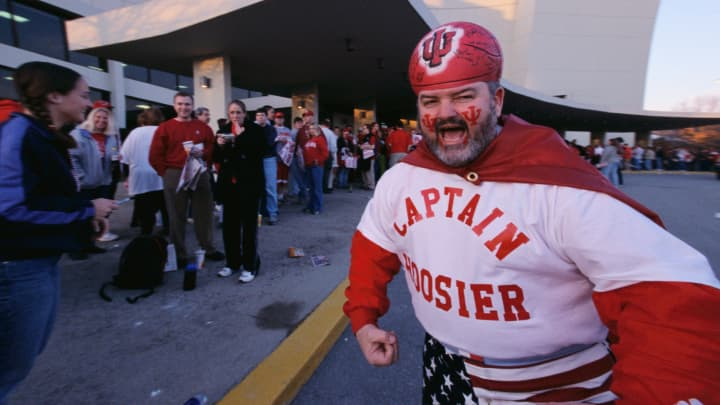 'Captain Hoosier' gets Indiana University basketball fans excited while they stand in line waiting to get in the arena.
