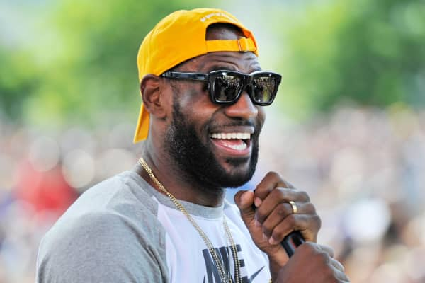 LeBron James of the Cleveland Cavaliers speaks to the crowd during the Victory Parade And Rally on June 22, 2016 in Cleveland.