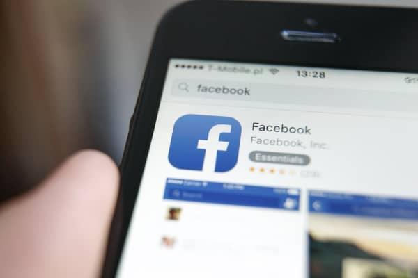 Facebook application on smartphone