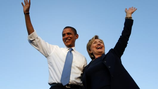 U.S. President Barack Obama with Hillary Clinton