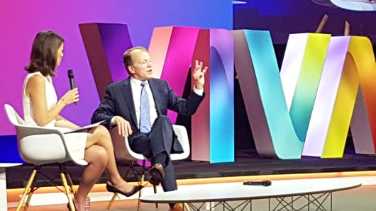 John Chambers, executive chairman of Cisco, speaks to CNBC's Nancy Hungerford on stage at the Viva Technology event in Paris on Thursday, June 30.