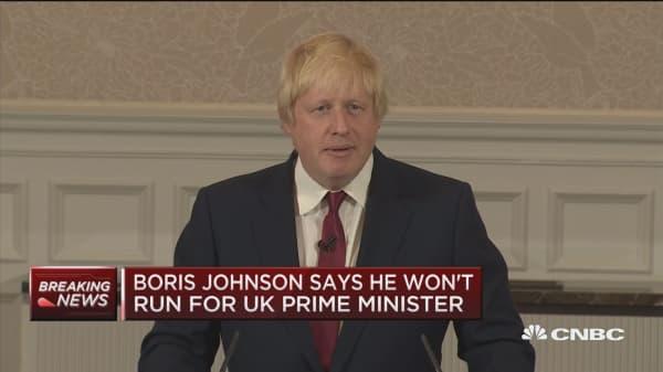 Boris Johnson won't run for UK PM