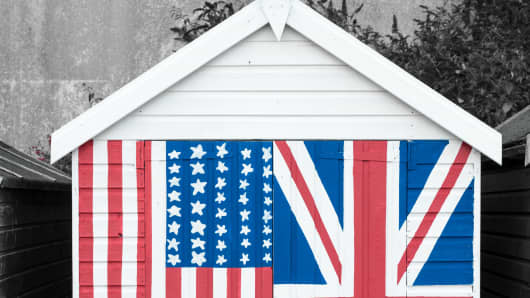 House British American flags