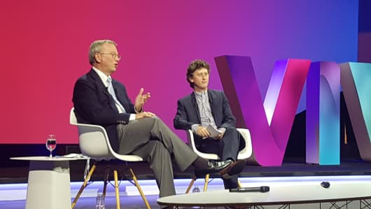 Eric Schmidt, executive chairman of Alphabet, speaks on stage at the Viva Technology conference in Paris on Thursday, June 30.