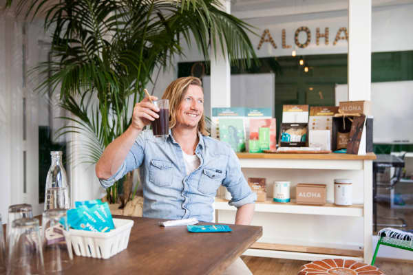 Aloha founder Constantin Bisanz, featured with Aloha products.