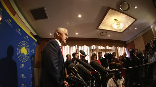 Prime Minister Malcolm Turnbull speaks to the media at a campaign event at Sunny Harbour Yum Cha on June 29, 2016 in Sydney, Australia.