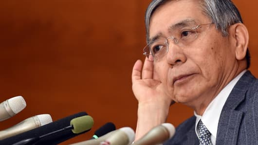 Governor of the Bank of Japan Haruhiko Kuroda listens to a question during a press conference at the BoJ headquarters in Tokyo on October 30, 2015.