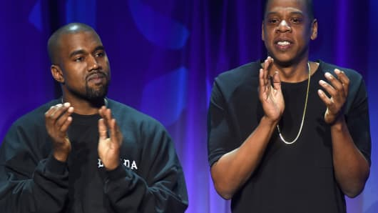 Kanye West and Jay-Z onstage at the Tidal launch event