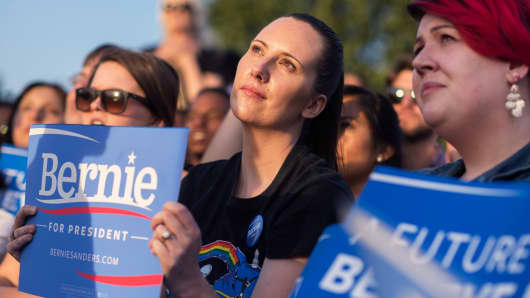 Supporters of Democratic presidential candidate Sen. Bernie Sanders at a rally in Washington, D.C.