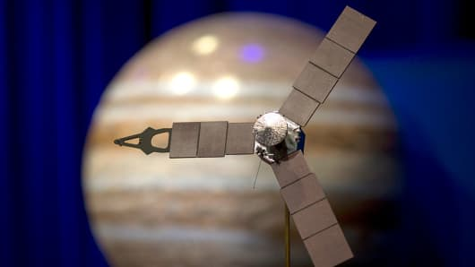 A desktop model of the Juno spacecraft is seen as NASA officials and the public look forward to the Independence Day arrival of the the Juno spacecraft to Jupiter, at JPL on June 30, 2016 in Pasadena, California.