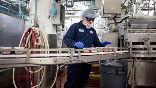 Refugees work at the Chobani yogurt factory, located near Utica in New Berlin.