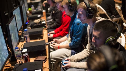 Competitors practice ahead of qualifying matches at the 2015 Call of Duty European Championships at The Royal Opera House on London, England.