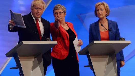 (Left to right) Boris Johnson, Gisela Stuart and Andrea Leadsom take part in The Great Debate on the EU Referendum at Wembley in London on June 21, 2016.