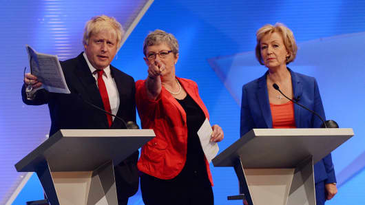 Boris Johnson (L) with Andrea Leadsom (R) and Gisela Stuart during a debate on the Brexit referendum.