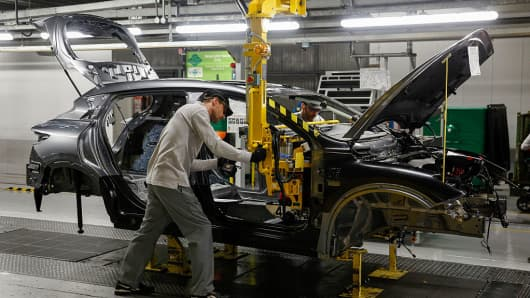 A vehicle being produced at Nissan's factory in Sunderland in the U.K.
