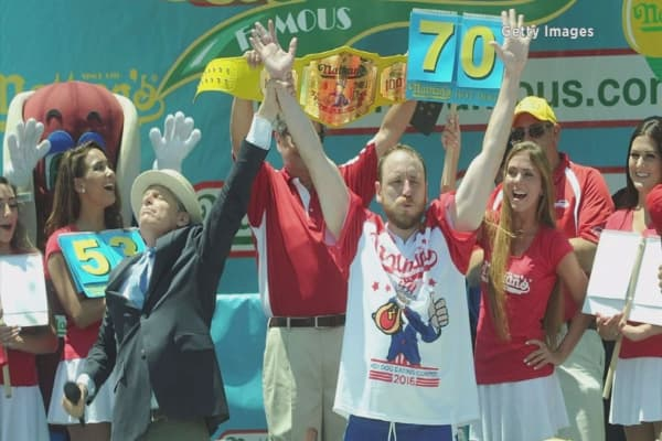 Joey Chestnut eats 70 hot dogs to reclaim championship title