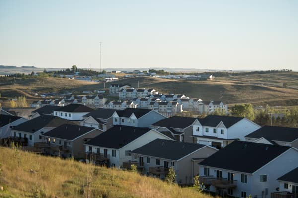 Newly built apartments and condos for oil field workers on the edge of Watford City, North Dakota.