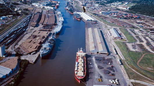 Aerial view of ship channel, Houston, Texas.