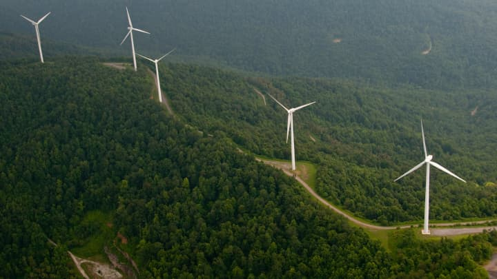 TVA wind turbines at Bear Mountain, Tennessee.