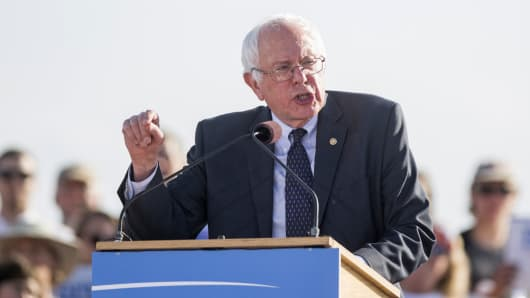 Sen. Bernie Sanders speaks at the official kickoff to his presidential campaign in Burlington, Vermont, in May 2015.