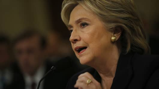 Hillary Clinton, former U.S. secretary of state and 2016 Democratic presidential candidate, testifies during a House Select Committee hearing on Benghazi and her use of private e-mail server, in Washington, D.C.