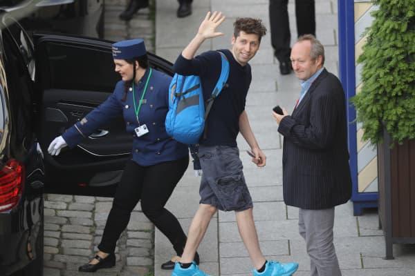 Sam Altman, President of Y Combinator, arrives at the Hotel Taschenbergpalais Kempinski Dresden for the 2016 Bilderberg Group conference on June 9, 2016 in Dresden, Germany.