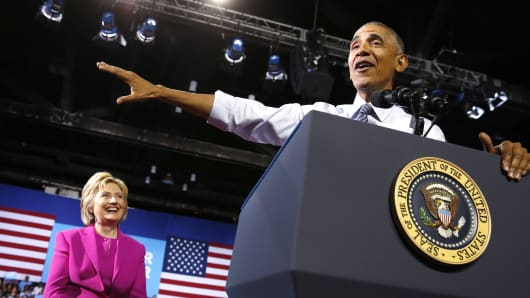President Barack Obama addresses a campaign event for Democratic U.S. presidential candidate Hillary Clinton in Charlotte, North Carolina, on July 5, 2016.