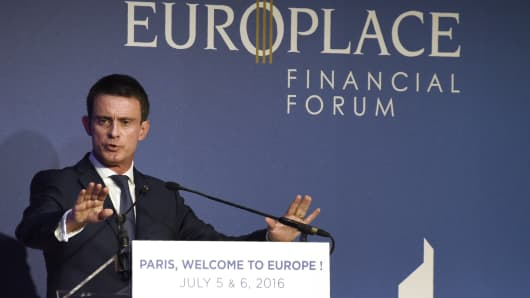 French Prime Minister Manuel Valls delivers a speech during the 'Paris Europlace' financial forum