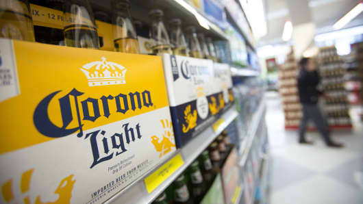 Constellation Brands' Corona Light is displayed for sale at a grocery store in New York.