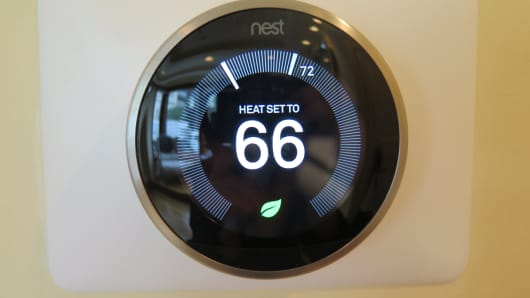 The Nest Thermostat, which can be controlled from voice control within the home or from an app outside of the home.