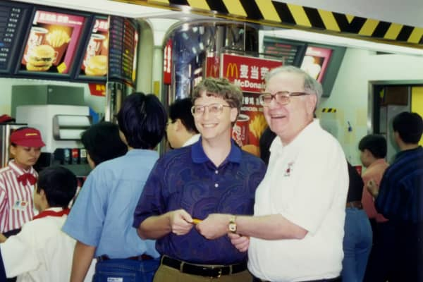 Bill Gates and Warren Buffett at a McDonald's in Hong Kong.