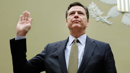 FBI Director James Comey is sworn-in before a House Oversight and Government Reform Committee hearing on Capitol Hill in Washington, DC, on July 7, 2016.