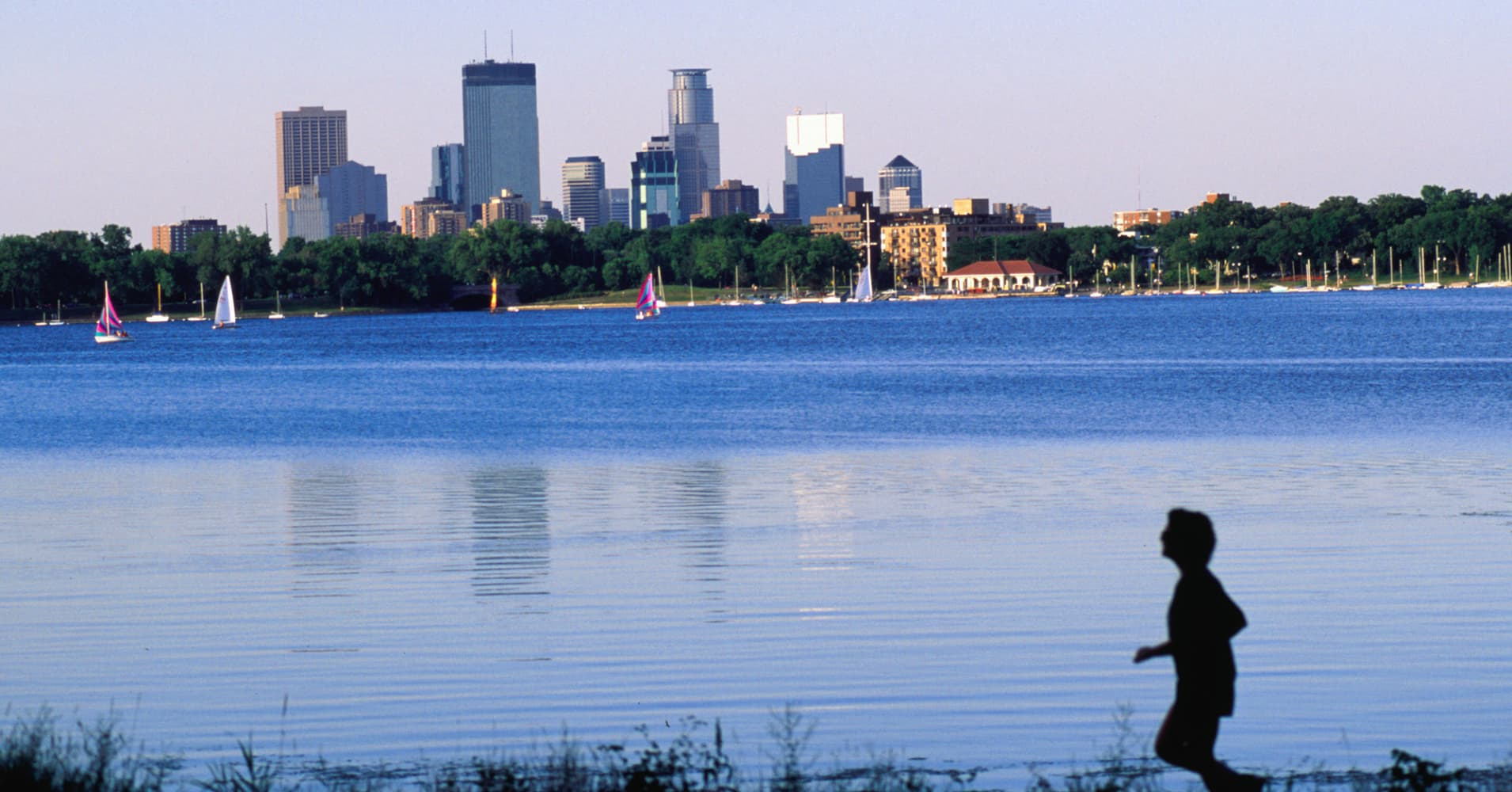 An early morning jog around Lake Calhoun, Minneapolis/St. Paul Minnesota.