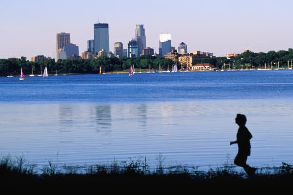 An early morning jog around Lake Calhoun, Minneapolis/St. Paul Minnesota.