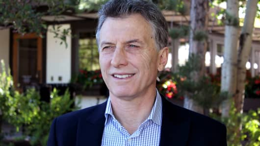 Mauricio Macri, President of Argentina, at the 2016 Sun Valley conference in Sun Valley, Idaho.