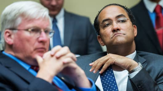 Reps. Glenn Grothman, R-Wis., left, and Will Hurd, R-Texas, attend a House Oversight and Government Reform Committee hearing in Rayburn Building featuring testimony by FBI Director James Comey on the investigation of a private email server used by Hillary Clinton when she was Secretary of State, July 7, 2015.