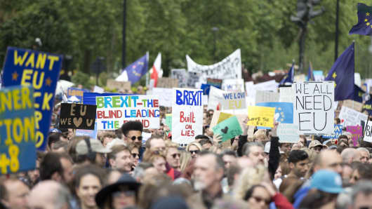 Protestors march from Park Lane to Parliament during the anti-Brexit rally in London, England on July 2, 2016.