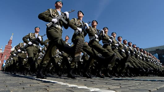 Russian paratroopers march at the Red Square in Moscow, on May 9, 2013, during Victory Day parade.