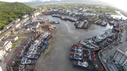 Fishing boats are anchored at a bay as Typhoon Nepartak approaches, in Cangnan, Wenzhou, Zhejiang province, China, July 7, 2016.
