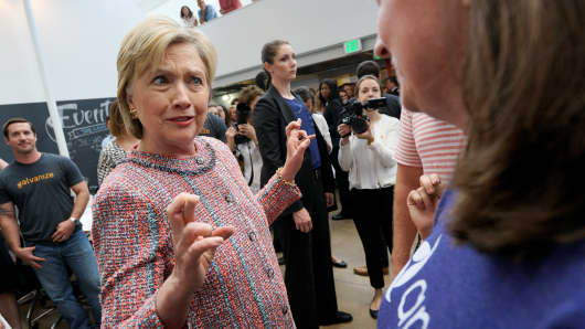 Democratic presidential candidate Hillary Clinton crosses her fingers as she talks with a worker at Galvanize, a learning community for technology, in Denver, U.S. June 28, 2016.