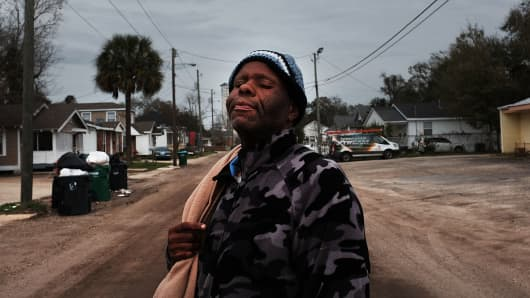 A homeless man in Biloxi, Mississippi. According to the latest US Census Bureau data, Mississippi is the nation's poorest state, with a median income of $41,754. The city of Biloxi has struggled to make progress after the devastating flooding from Hurricane Katrina in 2005.