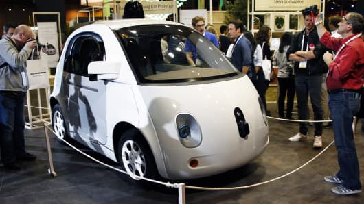 A Google self-driving car project is displayed during the Viva Technology show on June 30, 2016 in Paris.