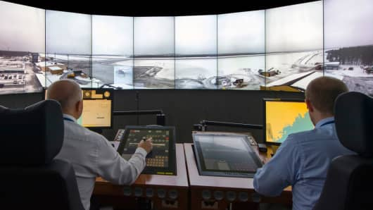 Air traffic controllers use Saab's remote system to help planes land in an airport hundreds of miles away.