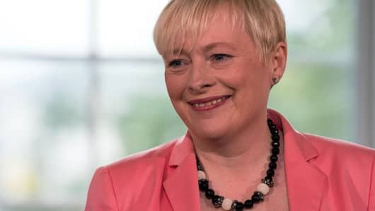 Labour Party MP Angela Eagle holds a press conference on July 11, 2016, to launch her bid for the leadership of the main opposition Labour Party.