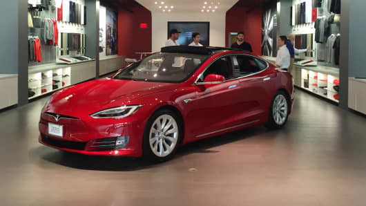 A Tesla Model S on display at the Short Hills Mall in New Jersey.