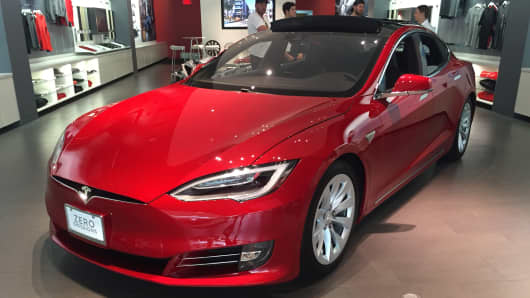 A Tesla Model S on display at the Mall at Short Hills, New Jersey.